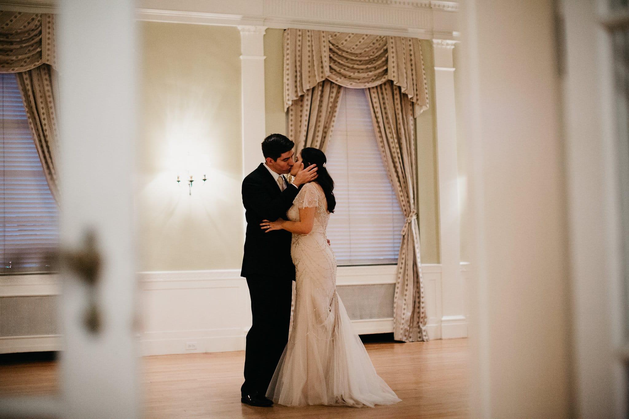 couple kissing on the dance floor